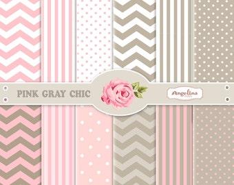 12 Digital Pink Gray Chevron Scrapbook Paper Pack for invites, card making, digital scrapbooking, wallpapers
