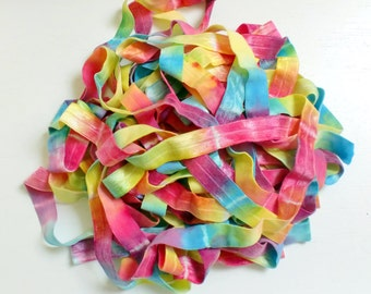 Bright Rainbow Tie Dye Elastic Ribbon by the yard, unicorn party, hair ties, party favor