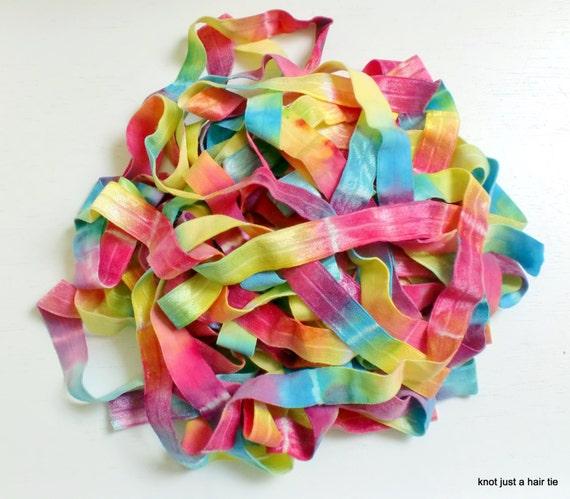 bright rainbow tie dye elastic ribbon by the by
