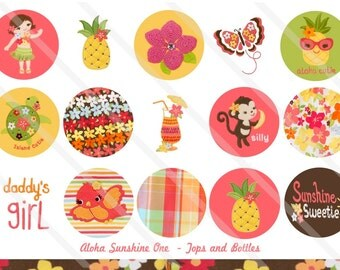 Aloha Sunshine One M2MG 1 Inch Circles Collage Sheet for Bottle Caps, Hair Bows, Scrapbooks, Crafts, Jewelry & More