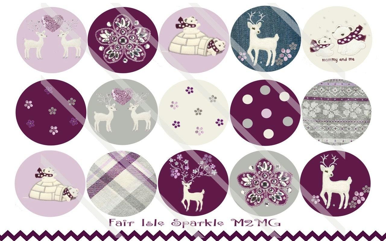 Fair Isle Sparkle M2MG 1 Inch Circles Collage Sheet For