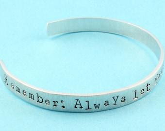 SALE - Always Let Conscience Be Your Guide Hand Stamped Cuff Bracelet - Adjustable Bracelet