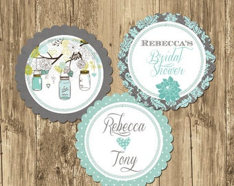 Mason Jar Teal Bridal Shower Party Rounds Cupcake Toppers- Printable