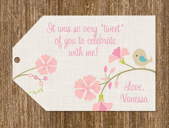 little bird baby shower thank you favor tags by partypopinvites
