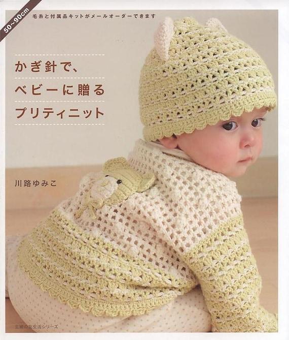 Japanische Baby stricken und häkeln 50-90cm Kleid Mütze
