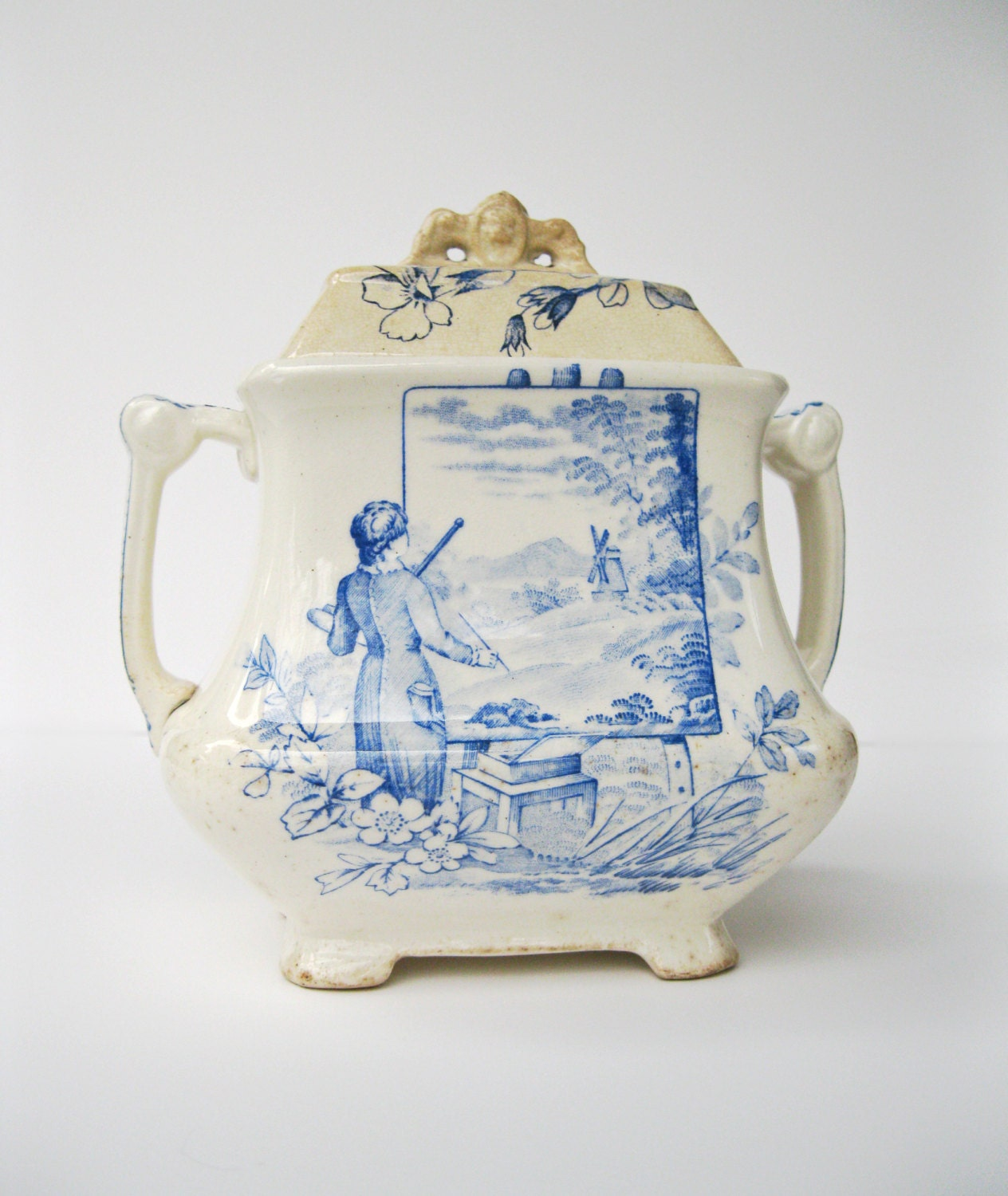 antique aesthetic movement transferware blue and white sucrier. Black Bedroom Furniture Sets. Home Design Ideas
