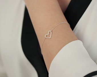 Open sterling silver heart charm - sterling silver bracelet - simple everyday jewelry