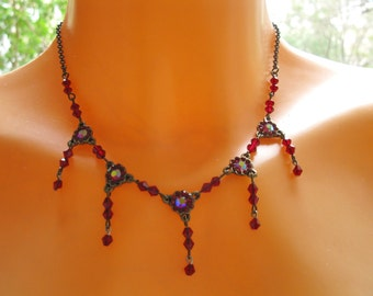 Ruby swarovski crystal, Bridesmaid Gift, Wedding necklace, Vintage style, For every woman, Wife, Sister,Wife, by Sara gal.