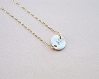Hand Stamped Initial Necklace, Personalized Custom, Gold Monogram necklace, Initial Necklace, Mom necklace, Woman,