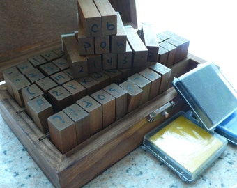 Handwritten Rubber Alphabet Stamp -  stamps Set with ink pad -  70 Letter wooden set