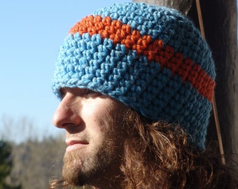 READY TO SHIP: Mens Wool Blend Chunky Beanie Hat in Blue with Orange Wide Stripe