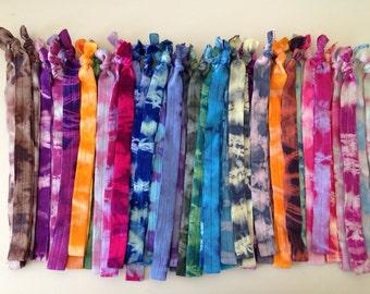 fold over elastic tie dye headbands - mangobands, hair bands - foe- doesn't tear, tug, or kink your hair- READY TO SHIP