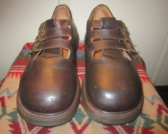 80s Vtg.Doc Martens Mary Jane Triple Buckles Size US7 UK 9 Made in England