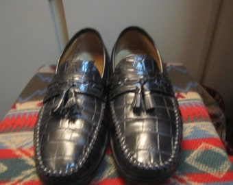 Preowned  Florsheim Faux Croc Leather Loafers W/ Tassels Mens Size 10 D