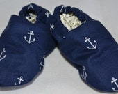 Baby Boys Shoes, Navy Blue Anchor Fabric, Booties, Crib Shoes, Nautical