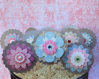 SALE!!! Flower Cupcake Toppers (Set of 10)