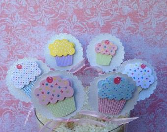 SALE!!! White Sparkle Cupcake Topper (Set of 12)