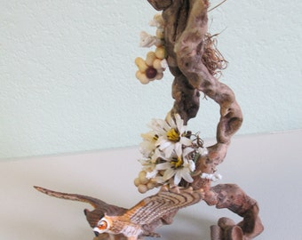 Driftwood centerpiece with owl figurine for Small spaces ooak