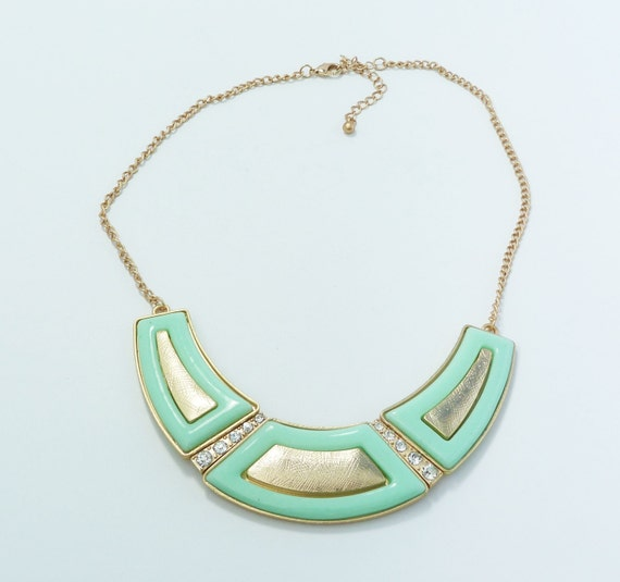 Mint & Gold Painted Crescent Chain Necklace