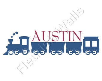 Boys Name Decal - Personalized Locomotive Train Wall Decal for Baby Boy Nursery Boys Room or Childrens Playroom Vinyl Wall Art Decor BN013