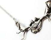 Praying Mantis necklace in antiqued white bronze by Bakutis
