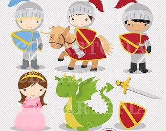 Knights and Dragon Digital Clipart / Digital Clip Art For Personal and Commercial Use/INSTANT DOWNLOAD