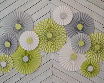 Gray, White  and Green Polka Dot Set of Twelve (12) Paper Rosettes/Fans