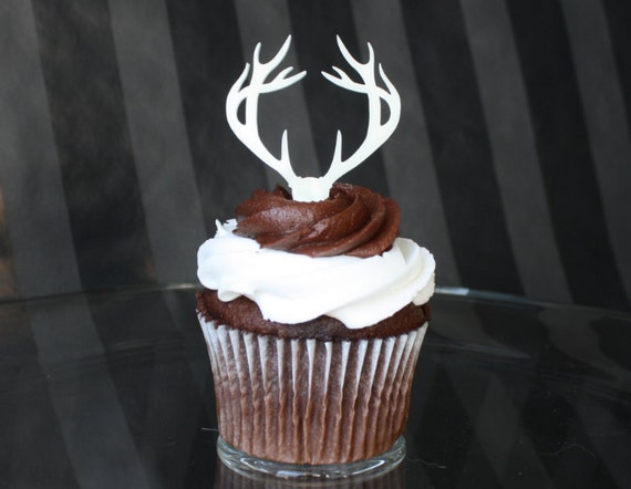 6 Deer Antler Cupcake Toppers Acrylic