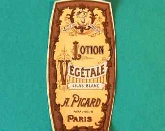 Vintage Paris Label, Antique Lotion Vegetale, A. Picard, Paris