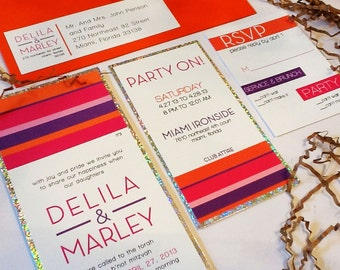 Bright Modern Bat Mitzvah Invitation