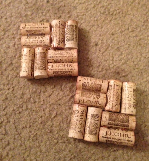 Things Made With Corks: Items Similar To Two Coasters Made With J Lohr Wine Corks