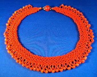 Red Hot Italian Seed Bead Bib Collar Necklace