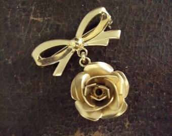 Alice Caviness 12k Gold Rose Brooch