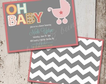 OH BABY, baby girl shower invite, 5x7: Printable and customizable (front and back design)