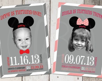 Mickey or Minnie Mouse birthday invitation 5x7: Printable and Customizable
