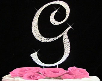 Large Rhinestone Crystal Monogram Letter  G  Wedding Cake Topper 5 inches high