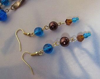 Repurposed Cobalt and Brown Bead Earrings