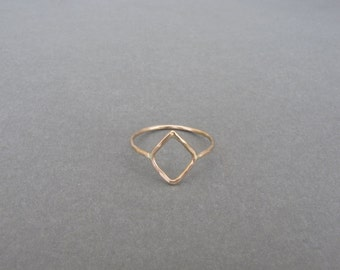 14K Gold Diamond Hammered Rings