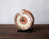 Vintage Orange Alarm Clock - Small Mechanical Alarm Clock SLAVA Made in the USSR in 1980s, Working Condition