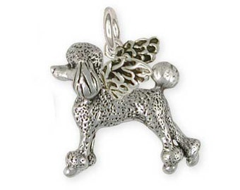 Solid Sterling Silver Poodle Angel Charm Jewelry  PD56-AC