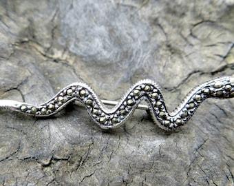 Vintage Sterling Silver and Marcasite Snake Pin Brooch -destash