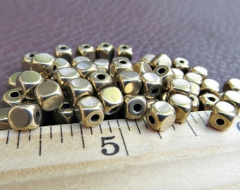 Solid Brass Cube Beads 4mm (100 pieces)