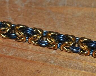 Aluminium Byzantine Weave Bracelet - Black and Gold