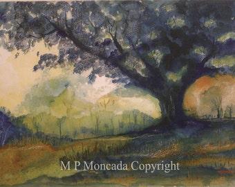 Oak, Landscape, Giclee Of An Original Watercolor Painting By M P Moncada