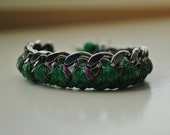 Woven Pewter Chain Link Bracelet -  Emerald Green