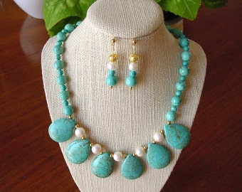 Classic Turquoise Howlite and Pearl Necklace