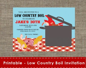 Low Country Boil Party Invitation - DIY - Printable