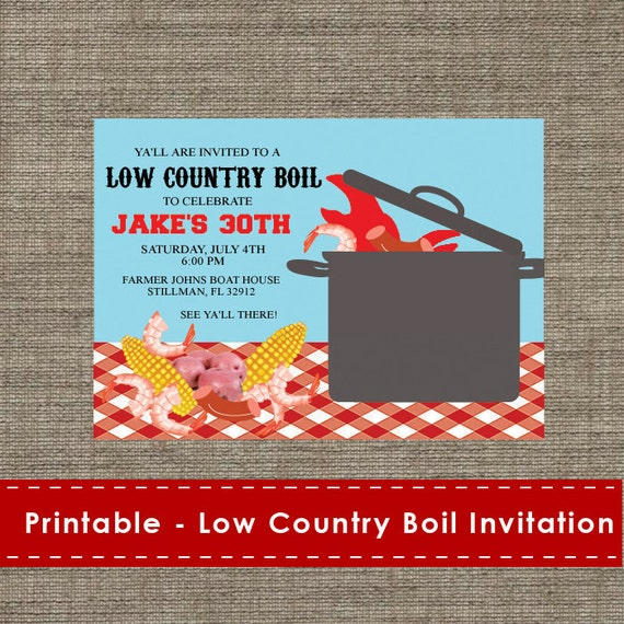 Low Country Boil Party Invitation DIY Printable