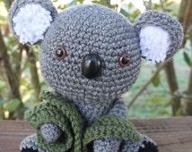 Amigurumi Koala with Eucalyptus Leaves Stuffed Toy