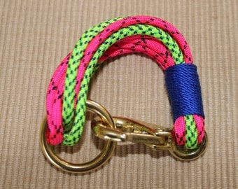 Maine Rope Bracelet - Pink Green Multi-Strand Paracord Bracelet -With Blue Accent - Made to Order